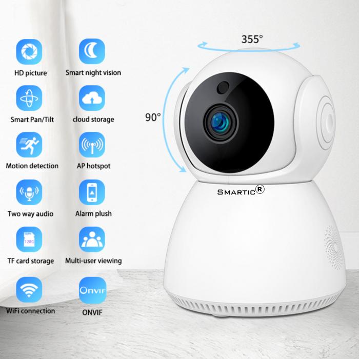 Baby Monitor Wireless Q9, Rezolutie HD 1920 x 1080P, WiFi, Functia Night Vision, Aplicatie Telefon, Smartic®, alb [6]