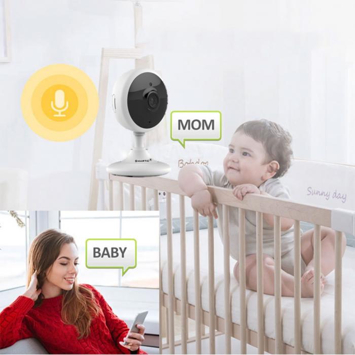 Baby Monitor Wireless V2, Rezolutie HD 1920 x 1080P, WiFi, Functia Night Vision, Aplicatie Telefon, Smartic®, alb [6]