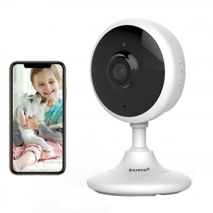 Baby Monitor Wireless V2, Rezolutie HD 1920 x 1080P, WiFi, Functia Night Vision, Aplicatie Telefon, Smartic®, alb [0]