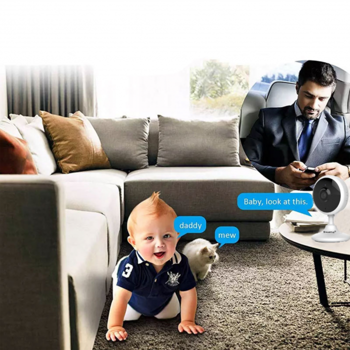 Baby Monitor Wireless V2, Rezolutie HD 1920 x 1080P, WiFi, Functia Night Vision, Aplicatie Telefon, Smartic®, alb [4]