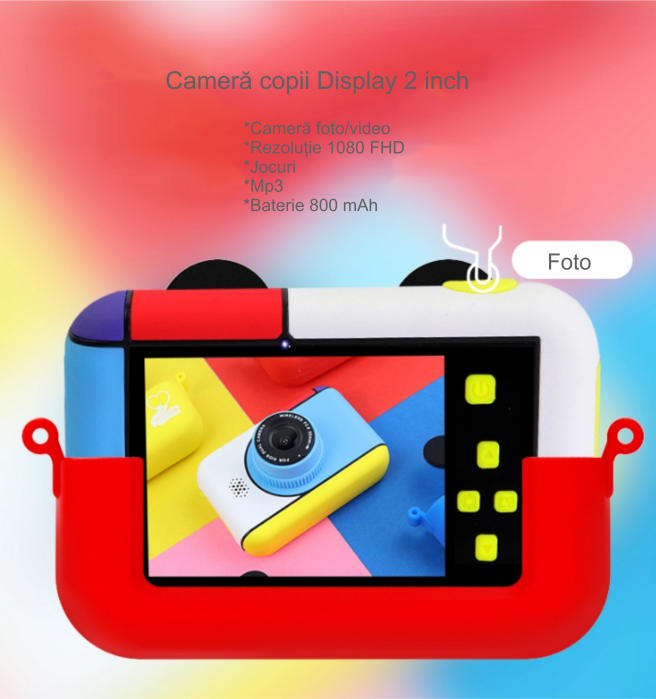 Camera foto/video pentru copii, Display 2 inch, Design Mickey Mouse, Rezolutie 1080P, Jocuri, MP3, Camera Duala, Smartic®, rosu 4