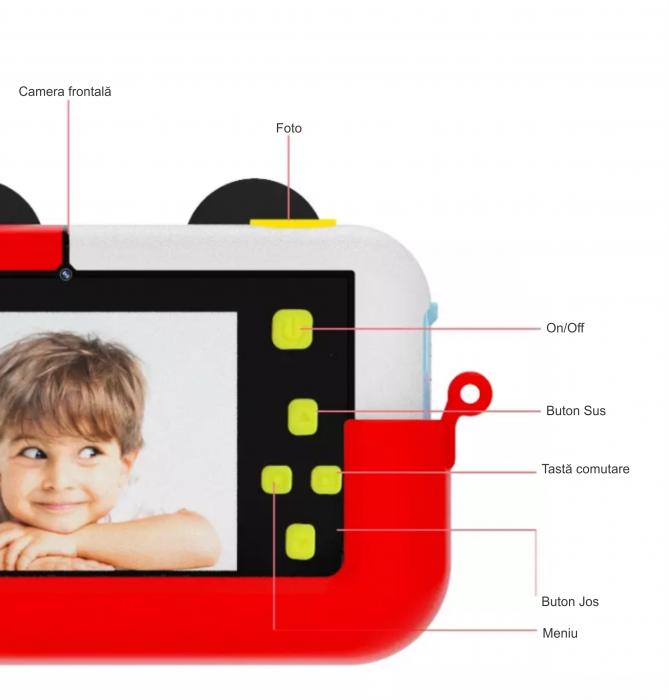 Camera foto/video pentru copii, Display 2 inch, Design Mickey Mouse, Rezolutie 1080P, Jocuri, MP3, Camera Duala, Smartic®, rosu 3