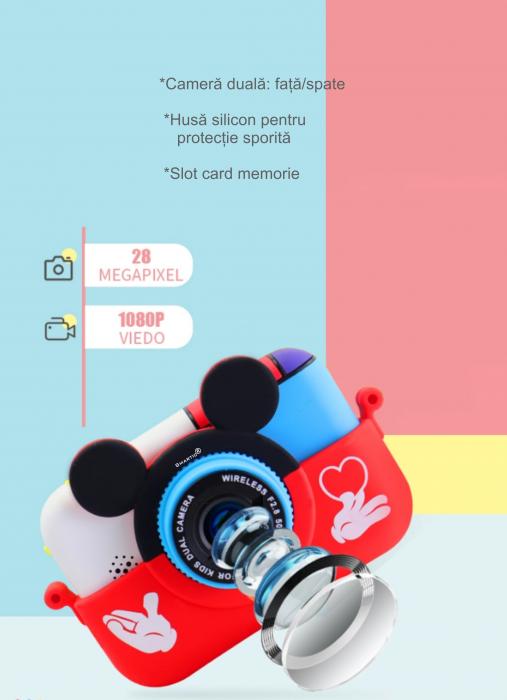 Camera foto/video pentru copii, Display 2 inch, Design Mickey Mouse, Rezolutie 1080P, Jocuri, MP3, Camera Duala, Smartic®, rosu 5