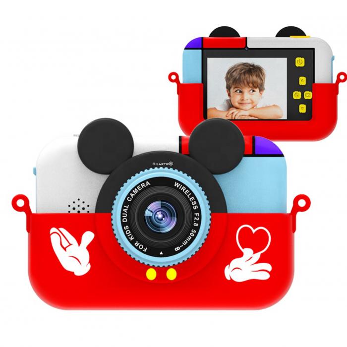 Camera foto/video pentru copii, Display 2 inch, Design Mickey Mouse, Rezolutie 1080P, Jocuri, MP3, Camera Duala, Smartic®, rosu 1