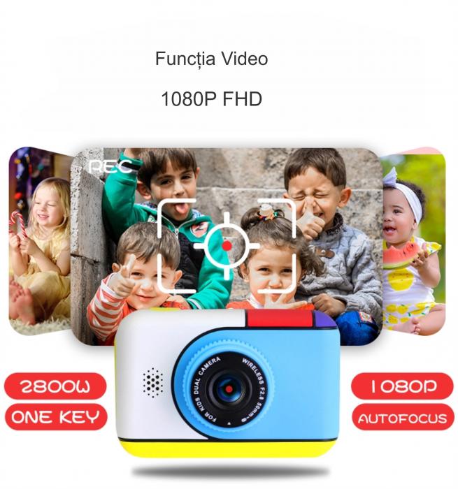 Camera foto/video pentru copii, Display 2 inch, Design Minnie Mouse, Rezolutie 1080P, Jocuri, MP3, Camera Duala, Smartic®, roz [4]