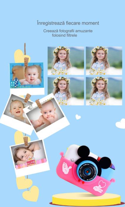 Camera foto/video pentru copii, Display 2 inch, Design Minnie Mouse, Rezolutie 1080P, Jocuri, MP3, Camera Duala, Smartic®, roz [3]