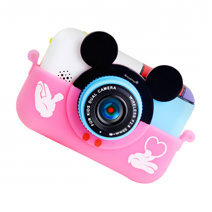 Camera foto/video pentru copii, Display 2 inch, Design Minnie Mouse, Rezolutie 1080P, Jocuri, MP3, Camera Duala, Smartic®, roz [2]