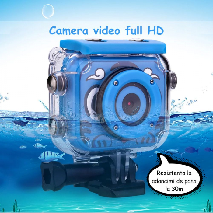 "Camera video sport SMARTIC®, camera digitala subacvatica pentru copii, 2.0"", full HD, albastru 5"