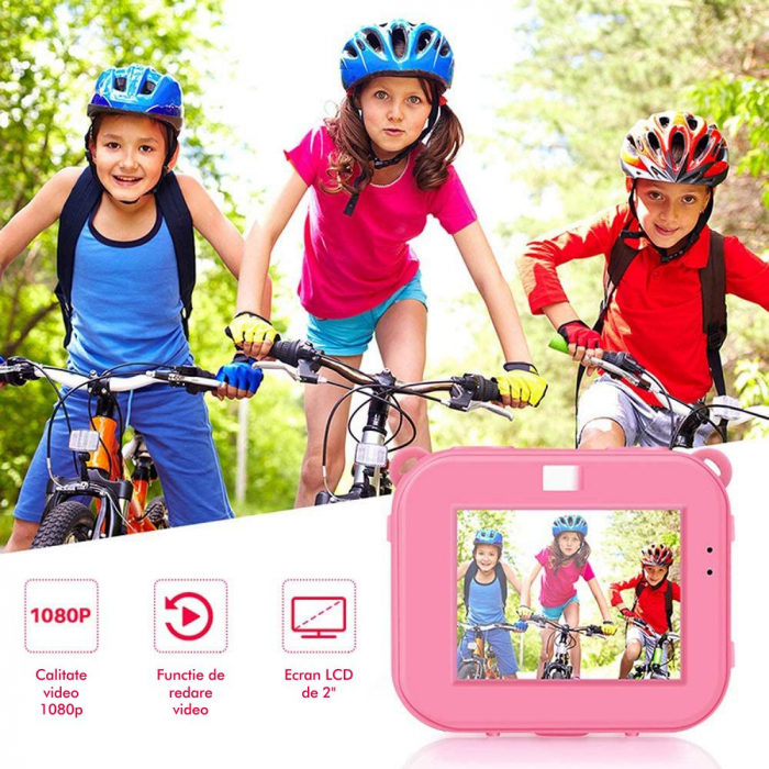 "Camera video sport SMARTIC®, camera digitala subacvatica pentru copii, 2.0"", full HD, roz 6"