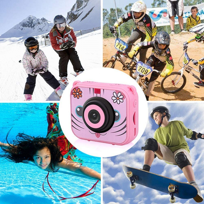 "Camera video sport SMARTIC®, camera digitala subacvatica pentru copii, 2.0"", full HD, roz 7"
