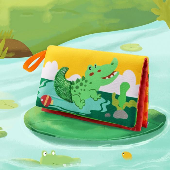 Carte interactiva fosnitoare Animal's Tails, TUMAMA®, 6 animalute colorate, pentru dentitia copiilor si a bebelusilor, material ecologic, albastru 6