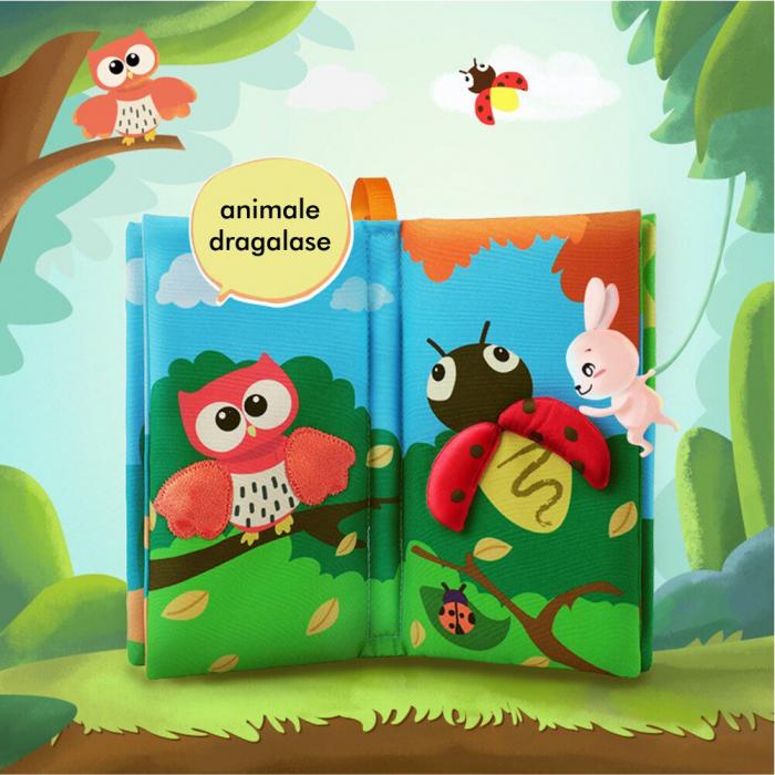 Carte interactiva fosnitoare Animal's Tails, TUMAMA®, 6 animalute colorate, pentru dentitia copiilor si a bebelusilor, material ecologic, albastru 3