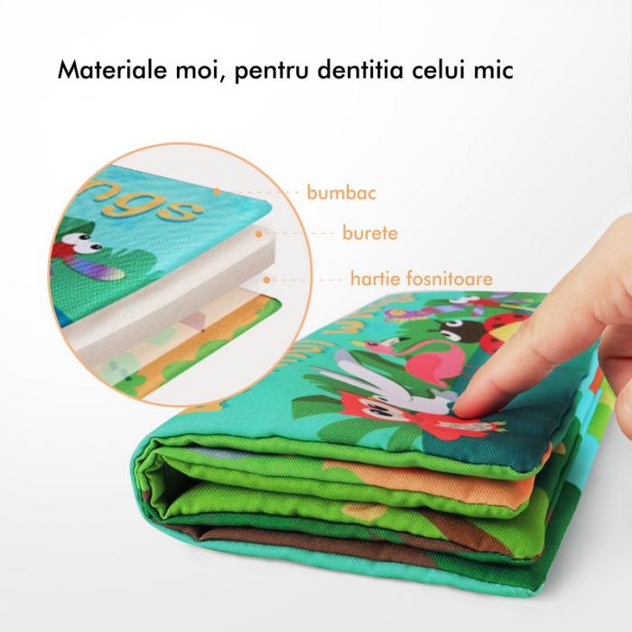 Carte interactiva fosnitoare Animal's Tails, TUMAMA®, 6 animalute colorate, pentru dentitia copiilor si a bebelusilor, material ecologic, albastru 5
