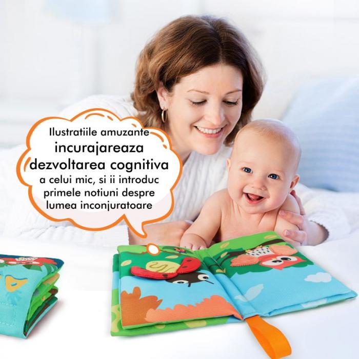 Carte interactiva fosnitoare Animal's Tails, TUMAMA®, 6 animalute colorate, pentru dentitia copiilor si a bebelusilor, material ecologic, albastru 2