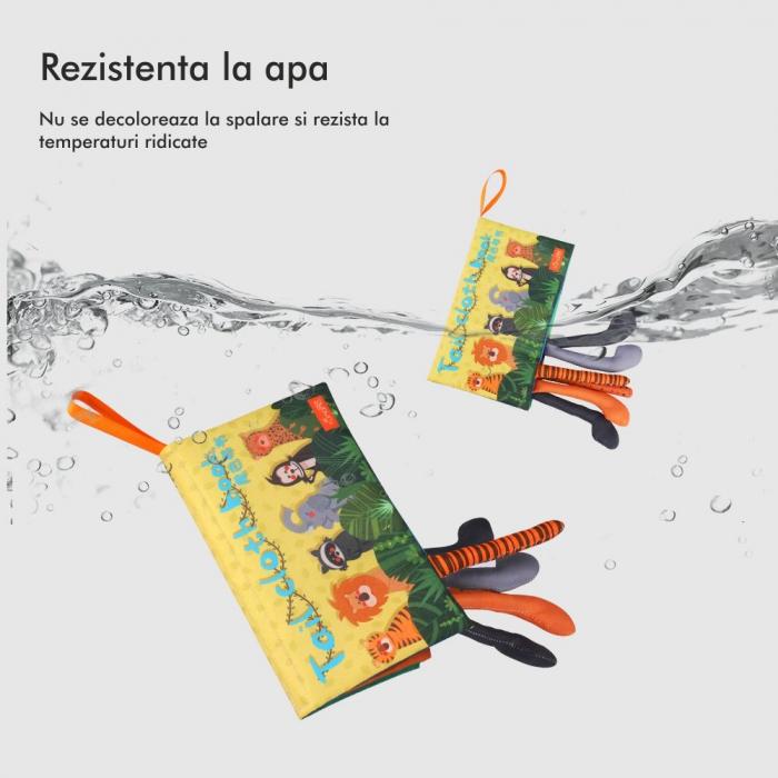 Carte interactiva fosnitoare Animal's Tails, TUMAMA®, 6 animalute colorate, pentru dentitia copiilor si a bebelusilor, material ecologic, galben 7