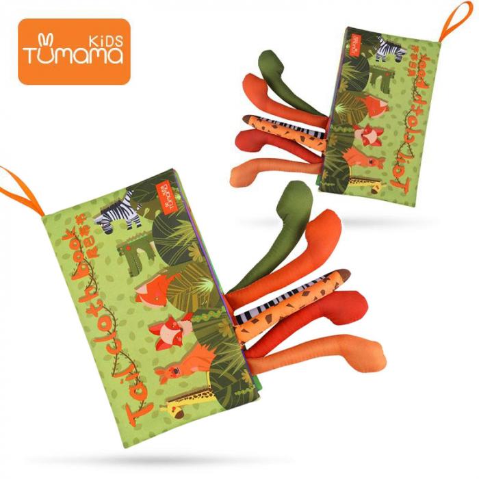 Carte interactiva fosnitoare Animal's Tails, TUMAMA®, 6 animalute colorate, pentru dentitia copiilor si a bebelusilor, material ecologic, verde 1