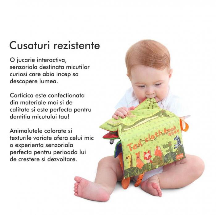 Carte interactiva fosnitoare Animal's Tails, TUMAMA®, 6 animalute colorate, pentru dentitia copiilor si a bebelusilor, material ecologic, verde 2