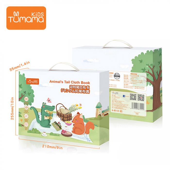 Carte interactiva fosnitoare Animal's Tails, TUMAMA®, 6 animalute colorate, pentru dentitia copiilor si a bebelusilor, material ecologic, verde 3