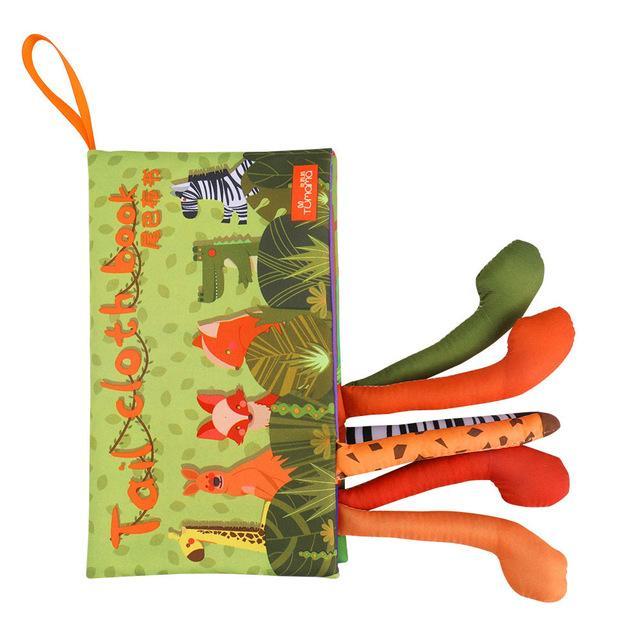 Carte interactiva fosnitoare Animal's Tails, TUMAMA®, 6 animalute colorate, pentru dentitia copiilor si a bebelusilor, material ecologic, verde 4