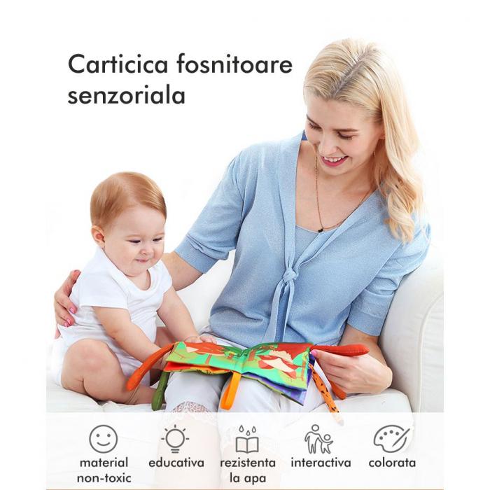 Carte interactiva fosnitoare Animal's Tails, TUMAMA®, 6 animalute colorate, pentru dentitia copiilor si a bebelusilor, material ecologic, verde 6