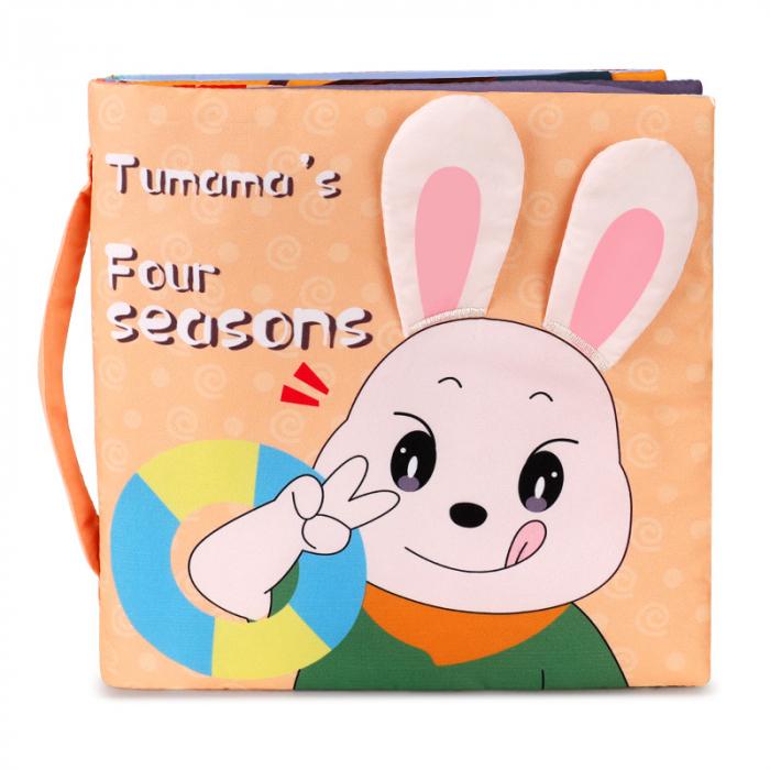 Carticica fosnitoare senzoriala Four Seasons Tumama®, pentru dentitia copiilor si a bebelusilor, varsta +3 luni, material bumbac, design iepuras, multicolor 0