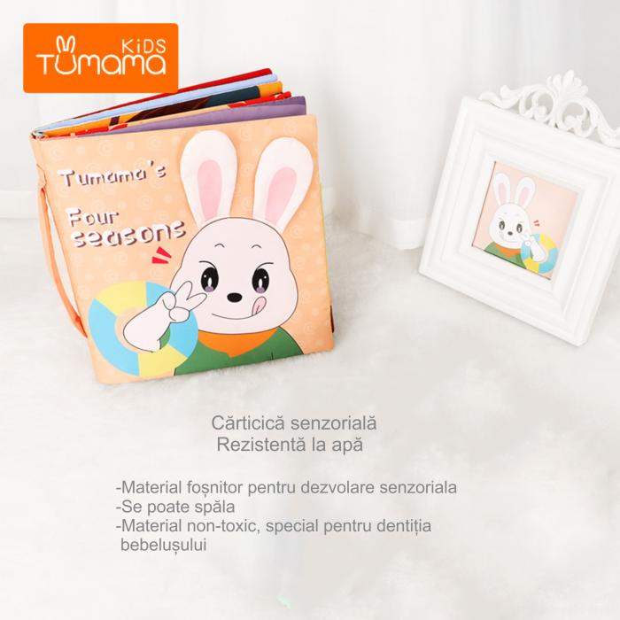 Carticica fosnitoare senzoriala Four Seasons Tumama®, pentru dentitia copiilor si a bebelusilor, varsta +3 luni, material bumbac, design iepuras, multicolor 6