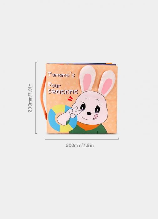 Carticica fosnitoare senzoriala Four Seasons Tumama®, pentru dentitia copiilor si a bebelusilor, varsta +3 luni, material bumbac, design iepuras, multicolor 7
