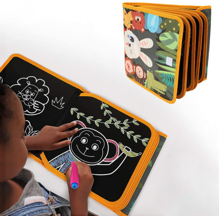 Carticica portabila cu 8 tablite Tumama®, pentru colorant si carioci, Jungla, negru 3