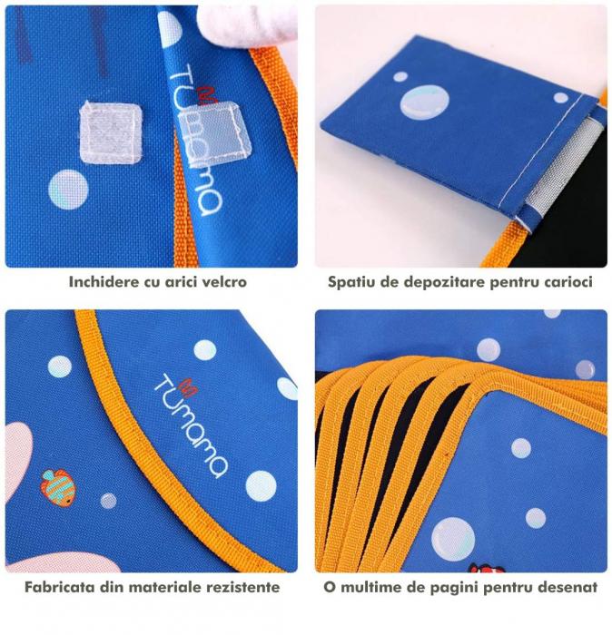 Carticica portabila cu 8 tablite Tumama®, pentru colorant si carioci, Ocean, albastru 3