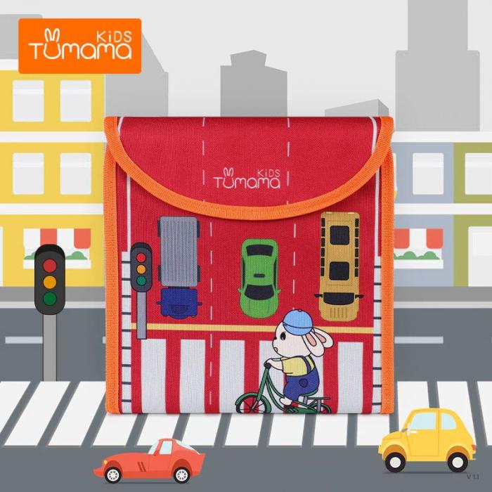 Carticica portabila cu 8 tablite Tumama®, pentru colorant si carioci, Transport, rosu 1