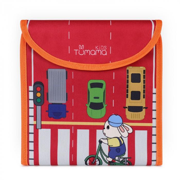 Carticica portabila cu 8 tablite Tumama®, pentru colorant si carioci, Transport, rosu 0