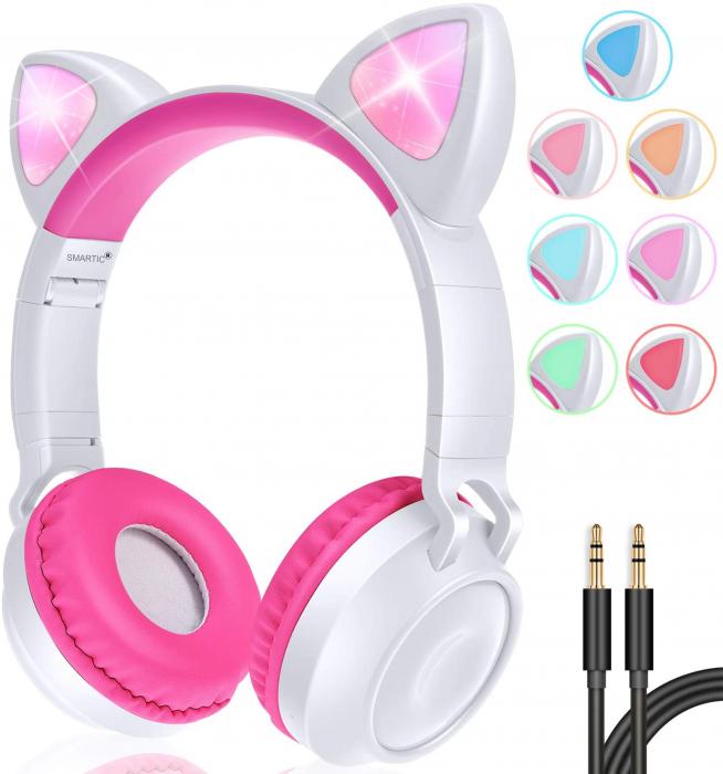 Casti audio luminoase cu urechi de pisica, Microfon Incorporat, Control Volum, Schimbare Culoare Lumina, Izolare Zgomot, Radio,Bluetooth,  Smartic®, alb/roz [3]