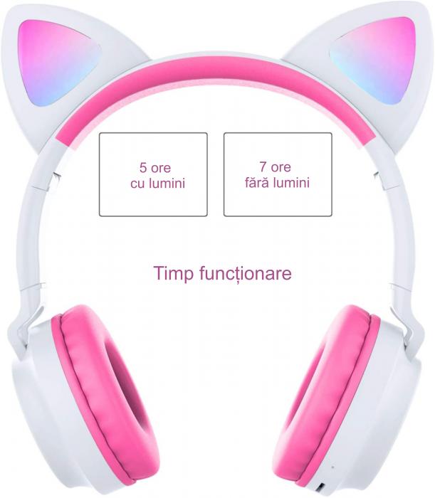 Casti audio luminoase cu urechi de pisica, Microfon Incorporat, Control Volum, Schimbare Culoare Lumina, Izolare Zgomot, Radio,Bluetooth,  Smartic®, alb/roz [5]