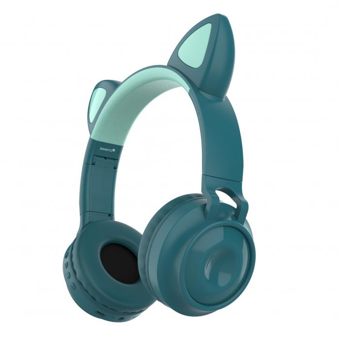 Casti audio luminoase cu urechi de pisica, Microfon Incorporat, Control Volum, Schimbare Culoare Lumina, Izolare Zgomot, Radio,Bluetooth,  Smartic®, albastru 0