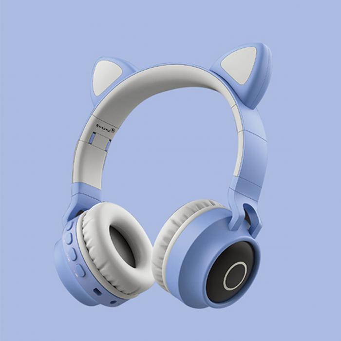 Casti audio luminoase cu urechi de pisica, Microfon Incorporat, Control Volum, Schimbare Culoare Lumina, Izolare Zgomot, Radio,Bluetooth,  Smartic®, albastru/gri 7