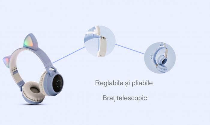 Casti audio luminoase cu urechi de pisica, Microfon Incorporat, Control Volum, Schimbare Culoare Lumina, Izolare Zgomot, Radio,Bluetooth,  Smartic®, albastru/gri 4