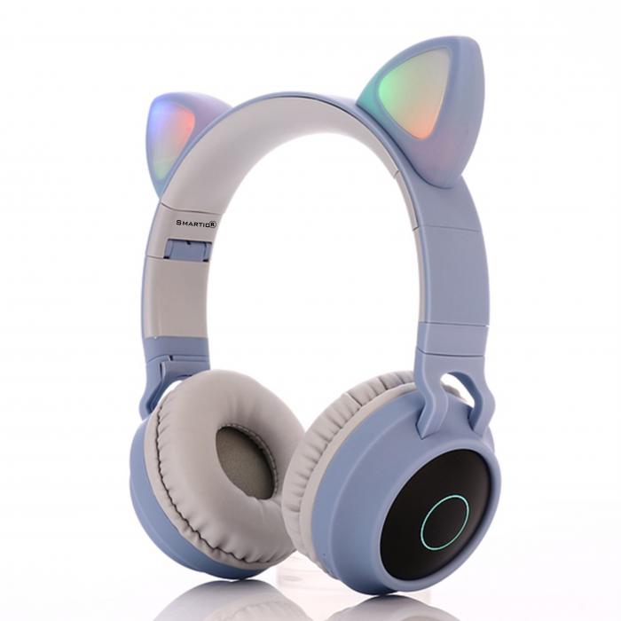 Casti audio luminoase cu urechi de pisica, Microfon Incorporat, Control Volum, Schimbare Culoare Lumina, Izolare Zgomot, Radio,Bluetooth,  Smartic®, albastru/gri 1