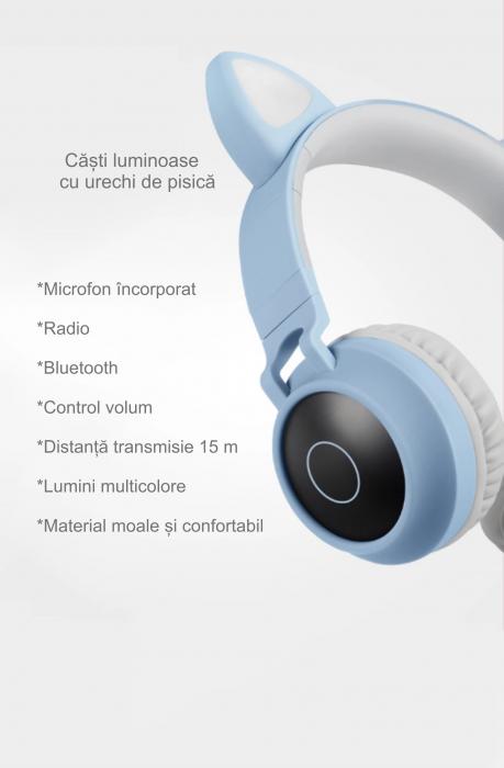 Casti audio luminoase cu urechi de pisica, Microfon Incorporat, Control Volum, Schimbare Culoare Lumina, Izolare Zgomot, Radio,Bluetooth,  Smartic®, albastru/gri 3