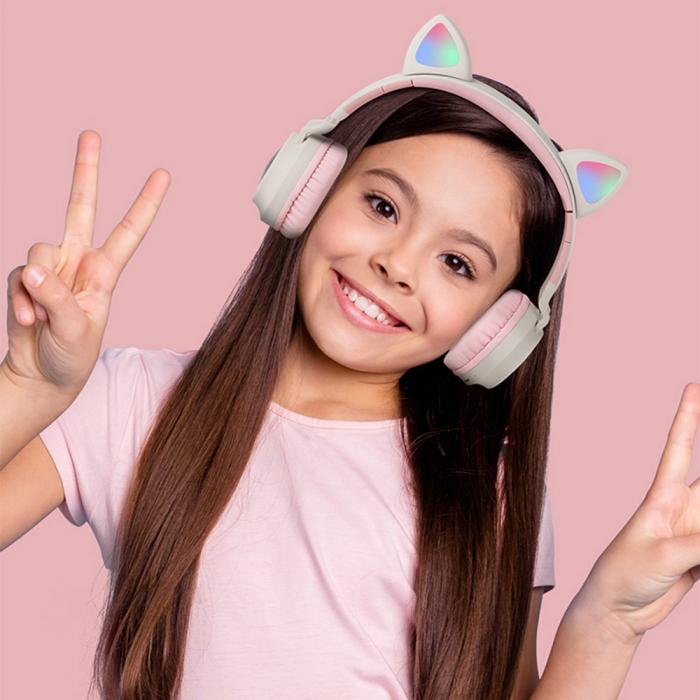 Casti audio luminoase cu urechi de pisica, Microfon Incorporat, Control Volum, Schimbare Culoare Lumina, Izolare Zgomot, Radio,Bluetooth,  Smartic®, albastru/gri 6