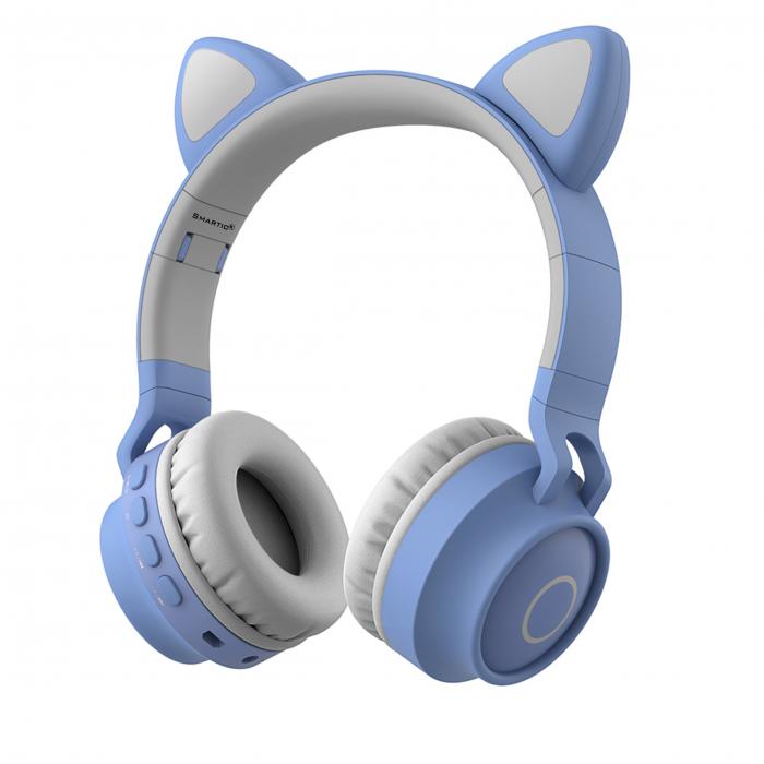 Casti audio luminoase cu urechi de pisica, Microfon Incorporat, Control Volum, Schimbare Culoare Lumina, Izolare Zgomot, Radio,Bluetooth,  Smartic®, albastru/gri 0