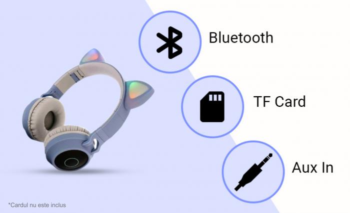Casti audio luminoase cu urechi de pisica, Microfon Incorporat, Control Volum, Schimbare Culoare Lumina, Izolare Zgomot, Radio,Bluetooth,  Smartic®, albastru/gri 5