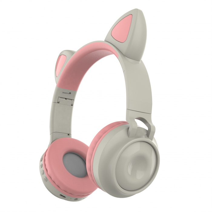 Casti audio luminoase cu urechi de pisica, Microfon Incorporat, Control Volum, Schimbare Culoare Lumina, Izolare Zgomot, Radio,Bluetooth,  Smartic®, gri 0