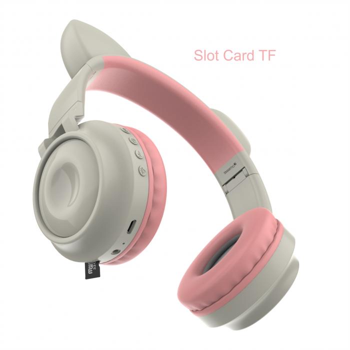 Casti audio luminoase cu urechi de pisica, Microfon Incorporat, Control Volum, Schimbare Culoare Lumina, Izolare Zgomot, Radio,Bluetooth,  Smartic®, gri 5