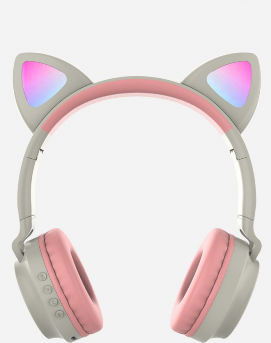 Casti audio luminoase cu urechi de pisica, Microfon Incorporat, Control Volum, Schimbare Culoare Lumina, Izolare Zgomot, Radio,Bluetooth,  Smartic®, gri 1