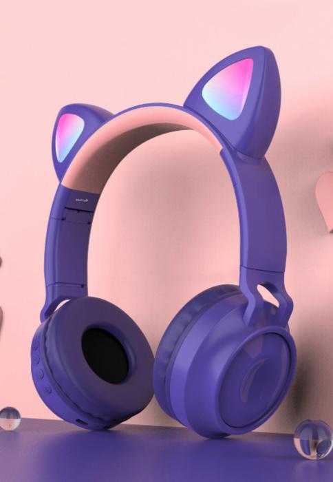 Casti audio luminoase cu urechi de pisica, Microfon Incorporat, Control Volum, Schimbare Culoare Lumina, Izolare Zgomot, Radio,Bluetooth,  Smartic®, mov 1