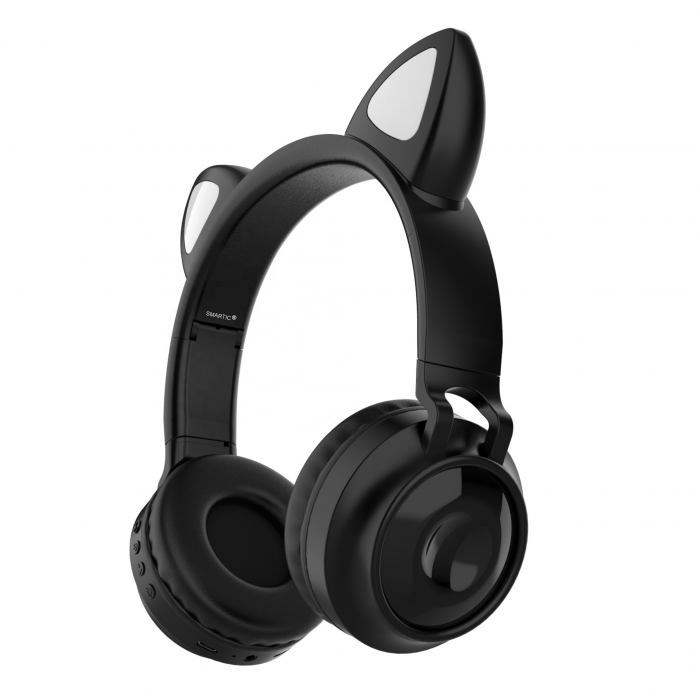 Casti audio luminoase cu urechi de pisica, Microfon Incorporat, Control Volum, Schimbare Culoare Lumina, Izolare Zgomot, Radio,Bluetooth,  Smartic®, negru [0]