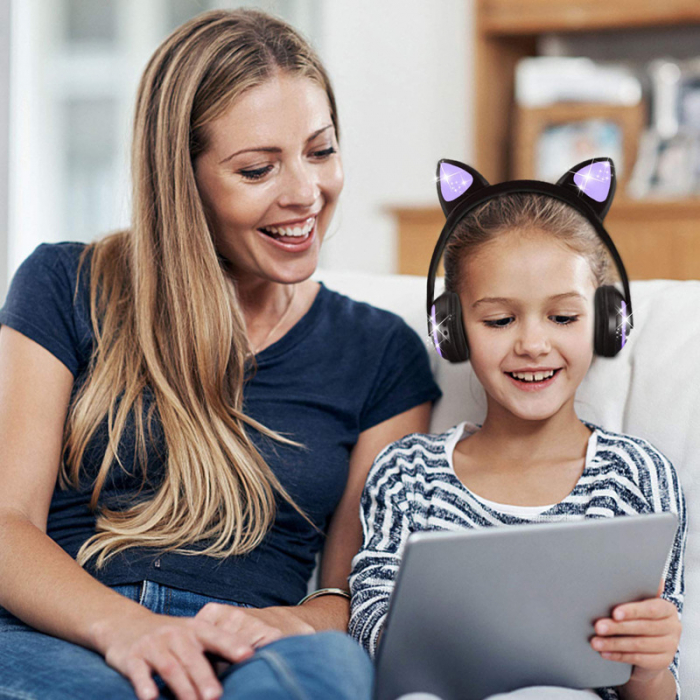 Casti audio luminoase cu urechi de pisica, Microfon Incorporat, Control Volum, Schimbare Culoare Lumina, Izolare Zgomot, Radio,Bluetooth,  Smartic®, negru [3]