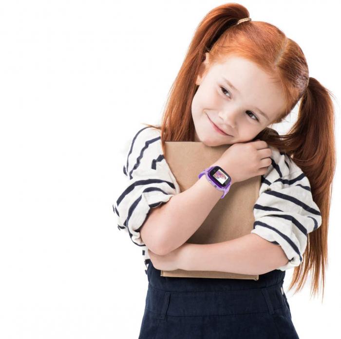 Ceas Smartwatch cu GPS pentru copii, Aplicatie Telefon, Rezistent la Apa IP67, Display 1.22 inch, Functie SOS, Wi-Fi, SMARTIC®, Mov [4]