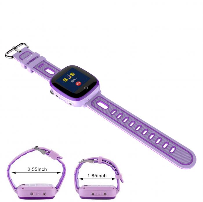 Ceas Smartwatch cu GPS pentru copii, Aplicatie Telefon, Rezistent la Apa IP67, Display 1.22 inch, Functie SOS, Wi-Fi, SMARTIC®, Mov [7]
