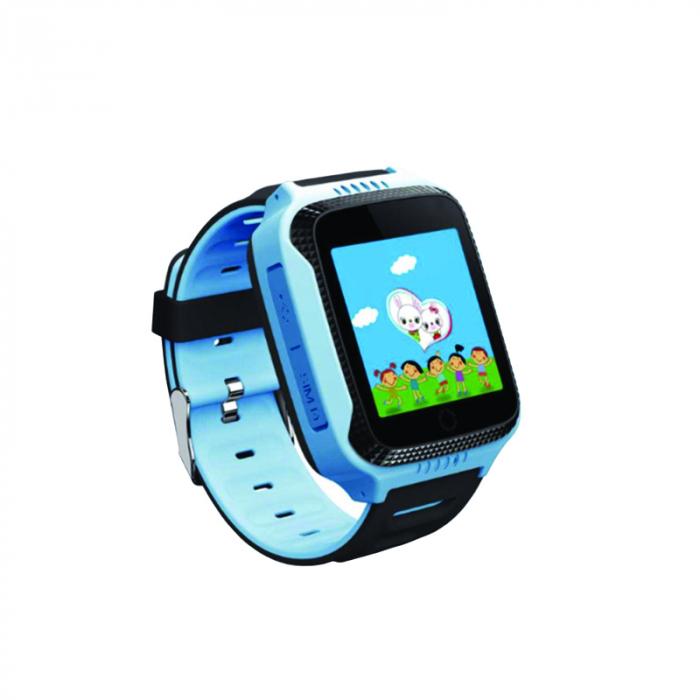Ceas Smartwatch cu GPS pentru Copii, Smartic, Albastru, Dreptunghiular, functie apeluri, localizare GPS, camera foto, zona de siguranta, buton SOS 0